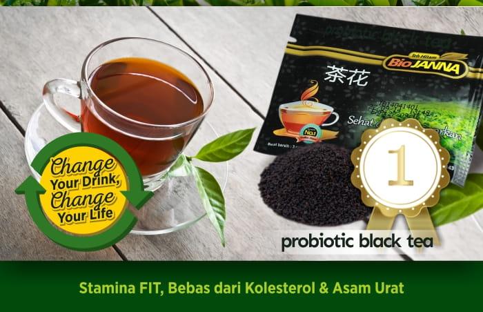 minum teh hitam probiotik biojanna 2