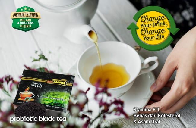 minum teh hitam probiotik biojanna